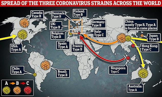 Η εξάπλωση των διαφορετικών μορφών του ιού παγκοσμίως